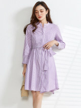 Dress Spring 2021 Purple Stripe , The purple strip has a belt S , 2XL , XL , 3XL , XS , M , L Middle-skirt singleton  Long sleeves Crew neck High waist Single breasted 25-29 years old 9 Charms