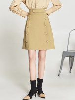skirt Spring 2021 XS , S , M , L , XL , XXL , F Khaki, Navy Middle-skirt A-line skirt Solid color 25-29 years old 9 Charms