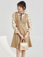 Dress Spring 2021 Blue, apricot Middle-skirt singleton  Long sleeves Sweet other middle-waisted Socket routine 30-34 years old 9 Charms