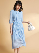 Dress Spring 2021 Light blue has a belt, light blue 36,46,40,38,42,44,34 Mid length dress singleton  Long sleeves Sweet Crew neck middle-waisted Solid color Socket routine 30-34 years old 9 Charms