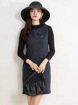 Dress Autumn 2020 Dark grey, blue S,M,L,XL,XXL,XXXL,4XL,5XL,6XL,F Short skirt Two piece set Long sleeves Half high collar middle-waisted other Socket other routine Others 30-34 years old 9 Charms 9m