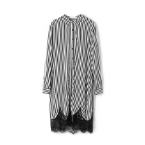 Dress Spring 2021 Black and white strip with belt, black and white strip XS,XL,2XL,L,S,3XL,M singleton  Long sleeves Polo collar Single breasted routine 25-29 years old 9 Charms