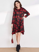 Dress Spring 2021 Black, red 2XL,4XL,XS,XL,M,3XL,S,L Middle-skirt singleton  Long sleeves Sweet other middle-waisted Socket routine 30-34 years old 9 Charms