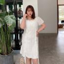 Women's large Spring 2021 white Large XL, large XXL, large XXL, large XXXXL, large XXXXL Dress singleton  commute thin Socket Short sleeve Korean version