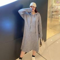 Women's large Winter 2020 Gray, black Large XL, large XXL, large XXL Dress singleton  commute thick Socket Long sleeves Korean version 100% of large size