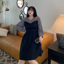 Women's large Spring 2021 Black, black with coffee Large L, large XL, large XXL, large XXL, large XXXL singleton  commute Korean version 100% of large size