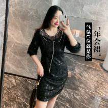 Women's large Winter 2020 Gray, black Large L, large XL, large XXL, large XXL Dress singleton  commute thick Socket Long sleeves Korean version 100% of large size