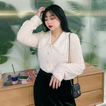Women's large Winter 2020 Black, off white Large L, large XL, large XXL, large XXL, large XXXL shirt singleton  commute thick Socket Long sleeves Korean version 100% of large size