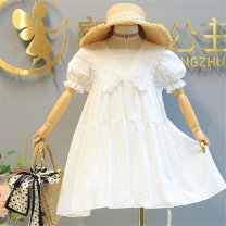 Dress White lace up shawl dress female Other / other Tag 90 is suitable for 90cm, tag 100 is suitable for 100cm, tag 110 is suitable for 110cm, tag 120 is suitable for 120cm, tag 130 is suitable for 130cm, tag 140 is suitable for 140cm Cotton 100% summer lady Short sleeve Solid color A-line skirt