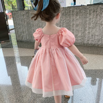 Dress Pink bubble sleeve stitching skirt female Other / other Tag 90 is suitable for 90cm, tag 100 is suitable for 100cm, tag 110 is suitable for 110cm, tag 120 is suitable for 120cm, tag 130 is suitable for 130cm Cotton 100% summer princess Short sleeve Solid color Pure cotton (100% cotton content)