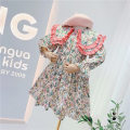 Dress White Floral double Lapel dress, green floral double Lapel dress female Other / other Tag 100 is suitable for 95cm, tag 110 is suitable for 105cm, tag 120 is suitable for 115cm, tag 130 is suitable for 125cm, tag 140 is suitable for 135cm Cotton 100% spring and autumn Korean version cotton