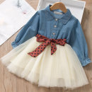 Dress Two fake blue shirts and skirts female Other / other Tag 90 is suitable for 90cm, tag 100 is suitable for 100cm, tag 110 is suitable for 110cm, tag 120 is suitable for 120cm, tag 130 is suitable for 130cm Polyester 100% spring and autumn Korean version Long sleeves other blending Splicing style