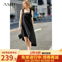 Dress Spring of 2019 Black, beige, description Mid length dress singleton  Sleeveless commute middle-waisted Solid color Socket Irregular skirt camisole 25-29 years old Amii Simplicity More than 95% polyester fiber