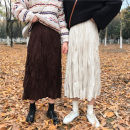 skirt Autumn of 2019 Average size Mid length dress Versatile High waist Pleated skirt Solid color 51% (inclusive) - 70% (inclusive) Other / other