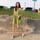 Dress Summer of 2019 Avocado color S, M Short skirt singleton  Sleeveless commute Loose waist Solid color Socket A-line skirt Hanging neck style Type A Other / other Korean version Chiffon
