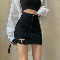 skirt Summer 2021 S,M,L black Short skirt Versatile High waist Denim skirt Solid color Type X 18-24 years old = 71% (inclusive) - 80% (inclusive) Denim Other / other nylon Pocket, button, zipper, stitching