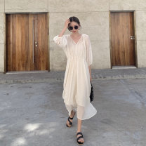 Dress Summer 2020 Apricot dress, yellow dress, apricot suspender skirt, yellow suspender skirt S, M Mid length dress Two piece set three quarter sleeve V-neck High waist Solid color Big swing routine Type X
