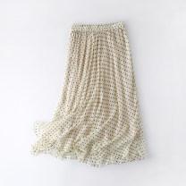 skirt Summer 2021 M, L Off white longuette Versatile High waist A-line skirt Dot Type A 30-34 years old B016 More than 95% other Yingjie Hongsheng silk Print, Ruffle