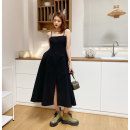 Dress Spring 2021 Classic black S,M,L Mid length dress singleton  Sleeveless street One word collar High waist Solid color zipper A-line skirt other camisole 25-29 years old Type A zipper 31% (inclusive) - 50% (inclusive) other nylon Europe and America