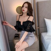 Dress Summer 2020 grey S,M,L Short skirt singleton  Short sleeve commute V-neck middle-waisted Solid color zipper One pace skirt pagoda sleeve camisole 18-24 years old Type X Korean version Backless, zipper, lace 51% (inclusive) - 70% (inclusive) Lace polyester fiber