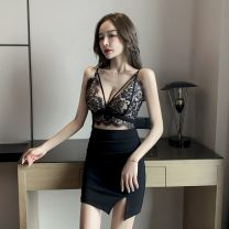 Dress Spring 2021 black S,M,L Short skirt singleton  Sleeveless V-neck High waist Solid color Socket other routine camisole 18-24 years old Type H Hollowing out Lace polyester fiber