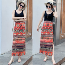 skirt Summer of 2019 Average size Skirt 2041 # black top 2041 # white top 2041 # grey top longuette Retro High waist skirt Decor Type H 18-24 years old CQ2659B More than 95% Chiffon Listen attentively polyester fiber Lace up print Polyester 100% Same model in shopping mall (sold online and offline)