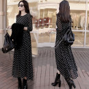 Dress Spring 2017 Black and white dots S M L XL 2XL longuette singleton  Long sleeves commute Crew neck middle-waisted Dot zipper Big swing shirt sleeve Others 18-24 years old Type A Listen attentively Korean version Lotus leaf edge CQ30988A More than 95% Chiffon polyester fiber Polyester 100%