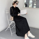 Dress Autumn of 2019 Black [regular] black [thickened] S M L XL XXL 3XL longuette singleton  Long sleeves commute stand collar High waist Dot Socket Pleated skirt routine Others 18-24 years old Type A Listen attentively Korean version Fold frenum CQ2068C More than 95% Chiffon polyester fiber