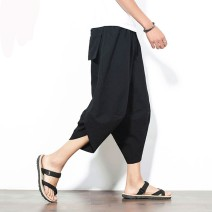 Casual pants Others Youth fashion 5 safflower, pure black, pure gray, lotus, blue flower, dragon, dragonfly, fan, crane, white t 5XL,4XL,3XL,2XL,XL,L,M thin Cropped Trousers Other leisure easy No bullet summer youth tide 2019 middle-waisted Little feet Haren pants Color contrast No iron treatment