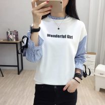 T-shirt Green, bright yellow, picture color, letter style M,L,XL,2XL Autumn of 2018 Long sleeves Half high collar easy Regular bishop sleeve commute cotton 31% (inclusive) - 50% (inclusive) 18-24 years old Korean version literature Cartoon, letter, solid color Other / other
