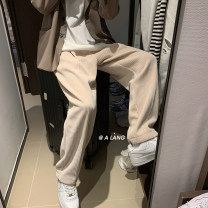 Casual pants myfangshao Youth fashion Apricot (plush), grey (plush), black (plush), apricot (light), grey (light), black (light) M,L,XL,2XL routine trousers Other leisure easy Micro bomb winter teenagers tide 2021 Medium low back Straight cylinder Overalls No iron treatment Solid color corduroy