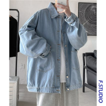 Jacket myfangshao Fashion City Blue, black M,L,XL,2XL routine easy Other leisure spring Long sleeves Wear out Lapel Japanese Retro youth routine Single breasted 2021 Cloth hem washing Closing sleeve Solid color Denim Arrest line Mingji thread patch bag