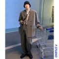 man 's suit Black striped suit, gray striped suit, black striped trousers, gray striped trousers, black striped suit + trousers (one set), gray striped suit + trousers (one set) Others Youth fashion routine M,L,XL,2XL easy Two double breasted Other leisure No slits youth spring routine Casual clothes