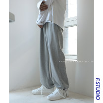 Casual pants myfangshao Youth fashion Gray, white, pink, black, beige, haze blue L,XL,2XL,3XL,S,M routine trousers Other leisure easy Micro bomb spring teenagers tide 2021 Medium low back Straight cylinder Sports pants No iron treatment Solid color