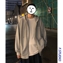 Sweater Youth fashion myfangshao Green, light gray, dark gray, blue, black S,M,L,XL,2XL,3XL Solid color Cardigan routine Hood spring easy leisure time youth routine Side seam pocket zipper