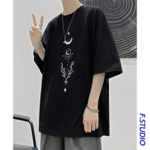 T-shirt Youth fashion Blue, black, white routine M,L,XL myfangshao Short sleeve Crew neck easy daily summer teenagers routine tide 2021 printing