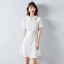 Dress Summer 2021 white S,M,L,XL Middle-skirt singleton  Short sleeve commute Polo collar middle-waisted Solid color Socket other routine Others 18-24 years old Type X selfcolor Ol style More than 95% other polyester fiber