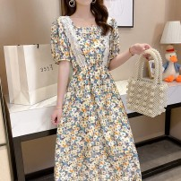 Women's large Spring 2021, summer 2021 yellow M [suggested 90-110 kg], l [suggested 110-130 kg], XL [suggested 130-150 kg], 2XL [suggested 150-170 kg], 3XL [suggested 170-190 kg], 4XL [suggested 190-210 kg] Dress singleton  commute Self cultivation moderate Socket Short sleeve Crew neck Medium length