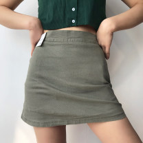 skirt Summer 2020 S,M,L Short skirt Versatile High waist skirt Solid color 18-24 years old 81% (inclusive) - 90% (inclusive) nylon