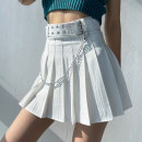 skirt Spring 2021 S,M,L White, black Short skirt street High waist Pleated skirt Solid color Type A 18-24 years old 51% (inclusive) - 70% (inclusive) other other fold Europe and America