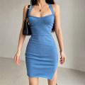 Dress Summer 2021 Blue, black, white, khaki S, M Short skirt singleton  Sleeveless commute High waist Solid color Socket One pace skirt 18-24 years old Open back, split More than 95% knitting