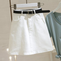skirt Summer 2021 S,M,L,XL white Short skirt commute High waist skirt Solid color 25-29 years old 30% and below other Korean version