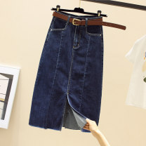 skirt Spring 2021 S,M,L,XL,2XL Black, blue longuette commute High waist other Solid color Type H 25-29 years old More than 95% other Korean version