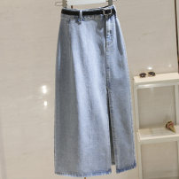skirt Summer 2021 S,M,L,XL wathet Mid length dress commute High waist Denim skirt Solid color Type H 25-29 years old More than 95% Korean version
