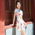 cheongsam Spring 2021 S M L XL XXL XXXL Short cheongsam Short sleeve Short cheongsam Retro Low slit daily Oblique lapel Decor 18-25 years old Piping MGFG3961 Luxury · style polyester fiber Polyester 100% Pure e-commerce (online only)