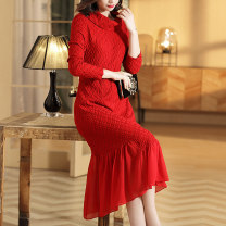 Dress Autumn of 2019 gules M L XL XXL XXXL Mid length dress singleton  Long sleeves commute Pile collar Loose waist Solid color Socket routine Others 40-49 years old Type H Riwins Retro More than 95% knitting polyester fiber Polyester 100% Pure e-commerce (online only)