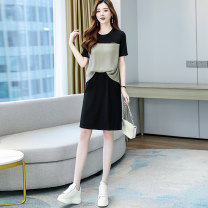 Dress Spring 2021 Khaki army green M L XL XXL Short skirt other Short sleeve commute Crew neck High waist other Socket A-line skirt routine Others 25-29 years old Yi Hui Korean version YRYHRSLD8573 More than 95% polyester fiber Polyester 100% Pure e-commerce (online only)