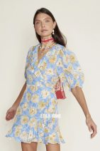 Dress Summer 2021 Yellow flowers on a blue background XS,S,M,L