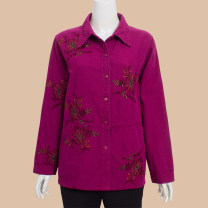 Middle aged and old women's wear Autumn of 2018, winter of 2018 Red, blue, rose L,XL,XXL,3XL,4XL,5XL leisure time shirt easy singleton  Broken flowers 50-59 years old Cardigan moderate Polo collar routine routine NN-821 Pure cotton, cotton 96% and above Single breasted Long sleeves