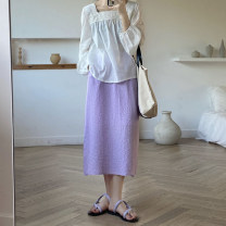 skirt Summer 2021 Average size Taro purple, fruit oil green Mid length dress Sweet High waist A-line skirt Solid color Type H 18-24 years old More than 95% solar system